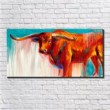 Modern Animal Oil Painting Print On Canvas Colorful Longhorn Vintage Retro Picture Poster Home Decor Wall Art Painted Gift Paint