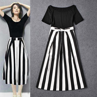 Black Off Shoulder Short Sleeve Top Vertical Striped Swing Skirt