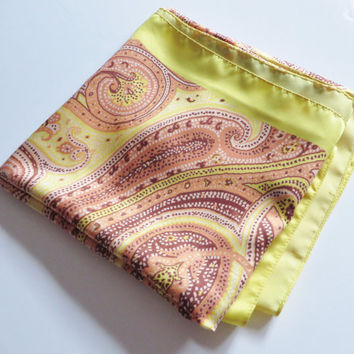 Vintage yellow and pink paisley pattern scarf, Italian scarf, Summer scarf, Head scarf