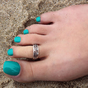 Vintage look sterling silver toe ring wave design toe ring adjustable toe ring (T-20) knuckle ring