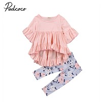 Cotton T-shirt Top Short Sleeve Pants Flower 2PCS Clothing Set Toddler Kids Baby Girls Outfits Clothes Sets