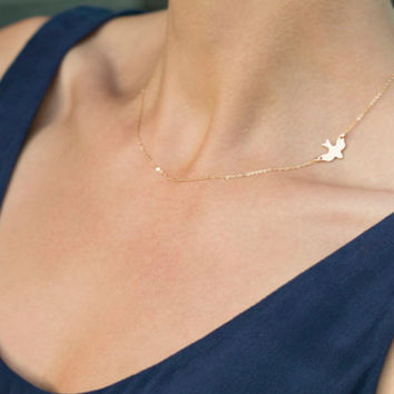 Layering Necklace Delicate Gold bird Necklace / Gold Dove Necklace  XL238