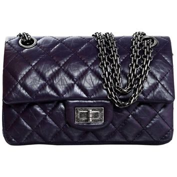 Chanel Dark Purple Quilted Calfskin 244 Reissue 2.55 Double Flap Bag