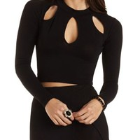 Cut-Out Mock Neck Crop Top by Charlotte Russe - Black