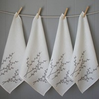 Set of Four Organic Linen Pussy Willow Napkins by madderroot