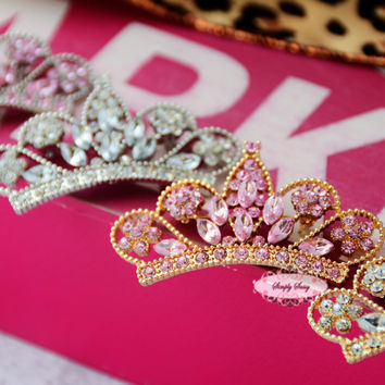 10pcs Rhinestone Tiara Crown Flat Back