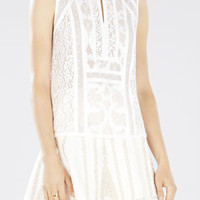 White BCBG Women's Camy Lace-Blocked Top