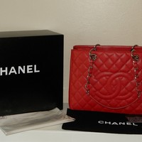 $2900.00 Authentic CHANEL Red Quilted Caviar Leather GST Grand Shopping Tote Bag