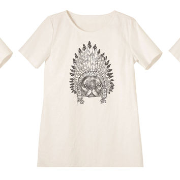 Women Animals wear headdress Printed Linen Vintage Mini Shift Dress WDS_06