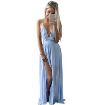 Summer Blue Chiffon Backless Off Shoulder V-Neck Long Dress Sexy  Women Formal Party Engagement Maxi Dress Lady vestido Dec23