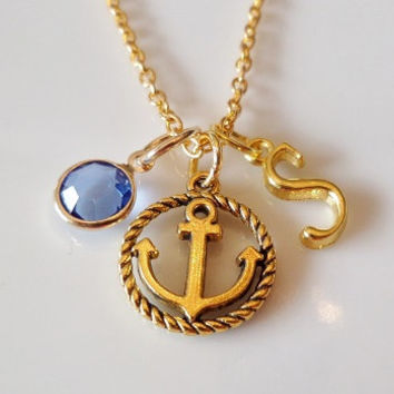 Initial necklace, Anchor and rope necklace, Nautical necklace, Personalized necklace, Antique gold necklace, birthstone charm necklace