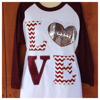 Love Football Bling 3/4 Raglan Shirt