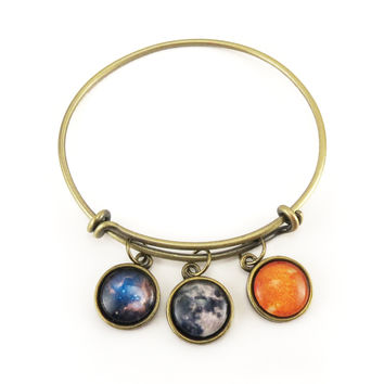 You Are My Sun, Moon, & Stars Bracelet, Adjustable Bangle