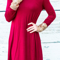 DIPPED IN GLITTER TUNIC IN WINE