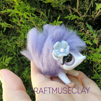 Purple hedgehog polymer clay and wool figure//fantasy//woodland//gifts for her//keepsake//collectible