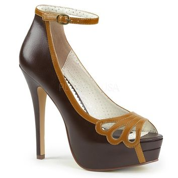 Pin Up Couture Bella Brown Ankle Strap Platforms