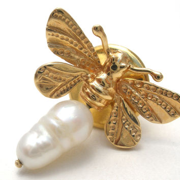 Honora 14K Yellow Gold & Pearl Lightning Bug Pin
