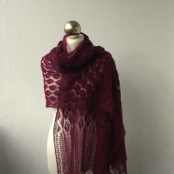 hand knitted kid silk lace stole,Wine Red  knitted lace shawl