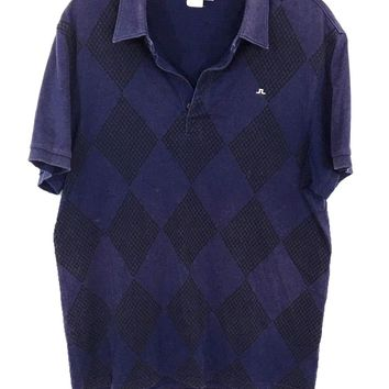 J.Lindeberg Blue Argyle Diamond Houndstooth 4 Button Polo Shirt Mens Large L