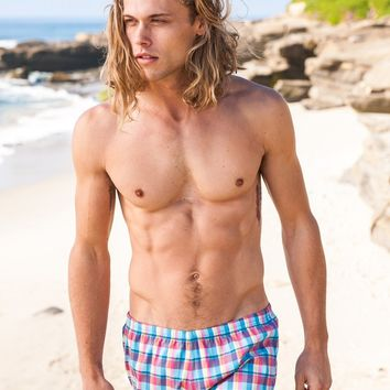 Sauvage Swimwear Aqua Plaid Swimmer | Designer Mens Swimwear
