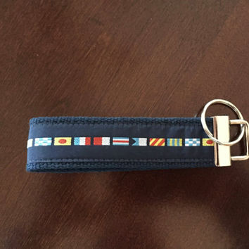 Nautical Flag Keychain Wristlet / Key Fob Wristlet / Key Holder