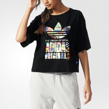 """Adidas"" Fashion Letter Print Movement Leisure Round Neck Short Sleeve Short Paragraph T-shirt"