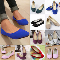 Womens Ballet Flats Ballerina Slippers Ladies Faux Leather Casual Slip On Shoes