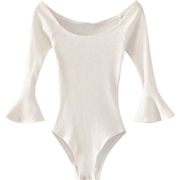 White Off Shoulder Ribbed Flared Sleeve Bodysuit