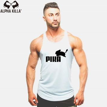 Men Pikachu Boy Cotton Undershirt fashion Brand singlet Lovely  bodybuilding Anime Pika tank stringer top VestKawaii Pokemon go  AT_89_9