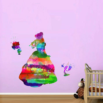 kcik2166 Full Color Wall decal Watercolor Character Disney Belle Beauty and the Beast children's room Sticker Disney