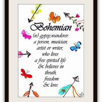 Bohemian definition, Printable Wall Art, decor, wander, travel, inspire decal decals, print, arrows, quote quotes, boho chic, free life