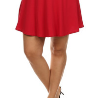 Pleated Tennis Skirt - Red - Plus Size - 1X - 2X