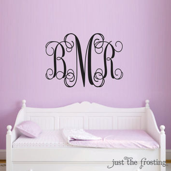 Personalized Monogram Decal Children Wall Decal - Nursery Wall Decal Monogram Vinyl - Wedding Monogrma Decal - Vinyl Lettering