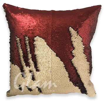 Matte Champagne & Brick Red Reversible Sequin Glam Pillow
