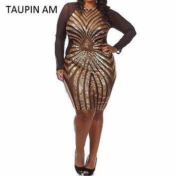 TAUPIN AM Plus size gold sequin dress black long sleeve mesh club party bodycon dress big sizes dresses autumn glitter dress
