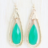 Gold and Green Pendulum Earrings