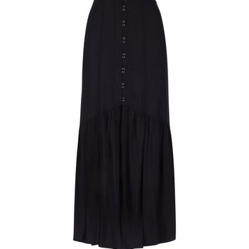 Black Button Front Maxi Skirt | New Look