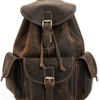 Vintage Crazy Horse Leather Americano Cowhide Leather Backpack