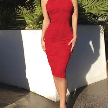 New Red Plain Cut Out Backless Clubwear Party Midi Dress