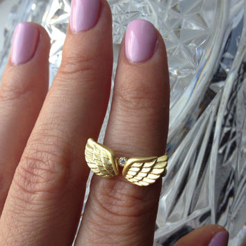 Set of 2 Stacking Rings, Angels Wings Ring, Dainty Rings, Mini Ring, Gold Ring, Silver Ring,