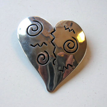 Vintage Sterling Silver Heart Brooch, Valentine, 925, Jewelry, Women's Accessory, Artist Signed, gift idea