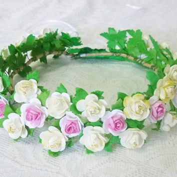 Rose crown Off white white pink Rose Small Rose headpiece / Flower crown/ Sweet pink Rose headpiece