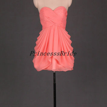 2014 short coral chiffon bridesmaid dresses,custom colors sweetheart bridesmaid gowns,simple dress for wedding,homecoming dresses.
