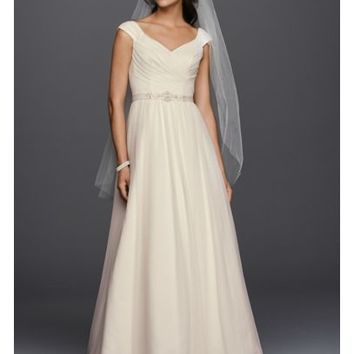 Tulle A-line Wedding Dress with Beaded Sash - Davids Bridal