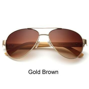Ralferty Pilot Bamboo Sunglasses with Gradient and Mirrored Lenses