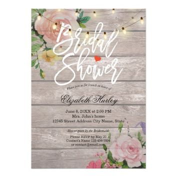 Rustic Wood Floral String Lights Bridal Shower Card