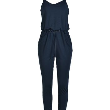 Spaghetti Strap Drawstring Pocket Plain Slim-Leg Jumpsuit