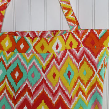 Summer Brights Chevron Print Tote Bag or Market Bag, Large Tote Bag, Reusable Grocery Bag, MK138