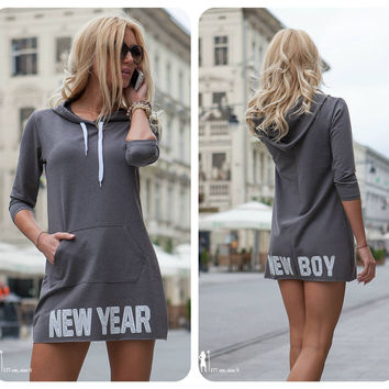 New Year Women's Fashion Pullover Hats Dress Hoodies [9600583311]
