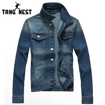 New Casual Fashion Slim Denim Jacket Solid Popular Single Breasted Men Coat Fitness